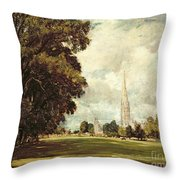 Salisbury Cathedral From Lower Marsh Close Throw Pillow