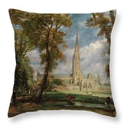Salisbury Cathedral From The Bishop Grounds Throw Pillow