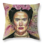 Salma Hayek As Frida Kahlo Throw Pillow