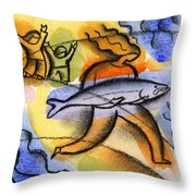 Salmon Fishing Throw Pillow