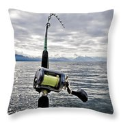Salmon Fishing Rod Throw Pillow by Darcy Michaelchuk