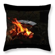 Salmon On The Fire Throw Pillow