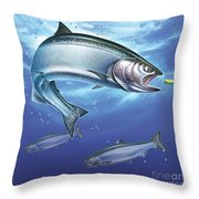 Salmon Painting Throw Pillow