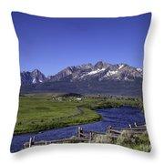 Salmon River And Sawtooth Mountains Throw Pillow