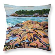 Salmon Rocks Throw Pillow