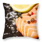 Salmon Steak And Spices Throw Pillow