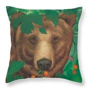 Salmonberry Bear Throw Pillow