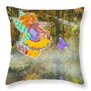 Salmonberry Fairy Merri Goldentree Throw Pillow
