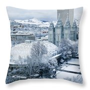 Salt Lake City Tabernacle And Temple Throw Pillow