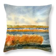 Salt Marsh And Snow Geese Throw Pillow