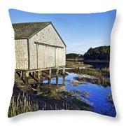Salt Pond Boathouse  Throw Pillow