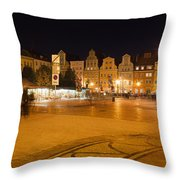 Salt Square In Wroclaw At Night Throw Pillow