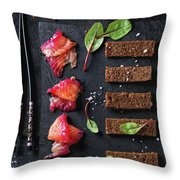 Salted Salmon With Beetroot  Throw Pillow