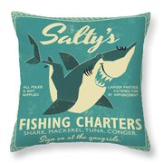 Salty's Fishing Charters Throw Pillow