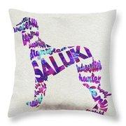 Saluki Dog Watercolor Painting / Typographic Art Throw Pillow