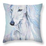 Saluki White Beauty Throw Pillow