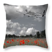 Salute To The Brave - P51 Flying Over Poppy Field Throw Pillow