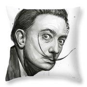 Salvador Dali Portrait Black And White Watercolor Throw Pillow