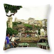 Salvador's Old Port At Noon Throw Pillow