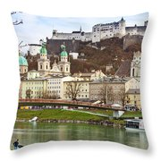 Salzburg City And Fortress  Throw Pillow