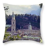 Salzburg City View Two Throw Pillow