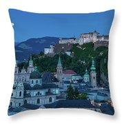 Salzburg City With Hohensalzburg Fortress, Salzburger Land, Austria Throw Pillow
