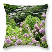 Pink Hydrangeas In Mirabell Garden Throw Pillow