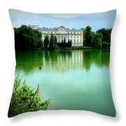 Salzburg Home With Lake Throw Pillow by Carol Groenen