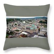 Salzburg Panoramic Throw Pillow by Adam Romanowicz