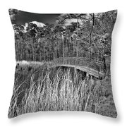 Sam Houston Jones State Park Bridge Bw Throw Pillow