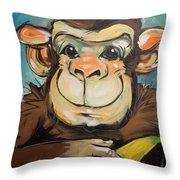 Sam The Monkey Throw Pillow