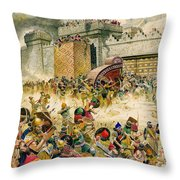 Samaria Falling To The Assyrians Throw Pillow