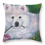Samoyed Pup With Peony Throw Pillow