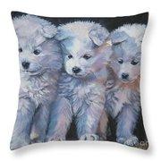 Samoyed Pups Throw Pillow