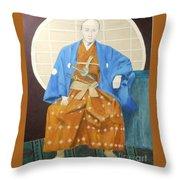 Samurai-san -- Portrait Of Japanese Warrior Throw Pillow