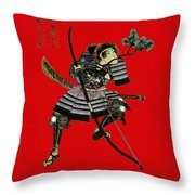 Samurai With Bow Throw Pillow