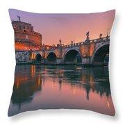San Angelo Bridge And Castel Sant Angelo Throw Pillow