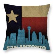 San Antonio City Skyline State Flag Of Texas Art Poster Series 022 Throw Pillow