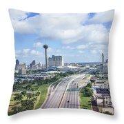 San Antonio City View -color Canvas Print Throw Pillow