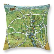 San Antonio Texas Cartoon Map Throw Pillow