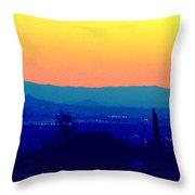 San Bernardino California Sunset Silhouette Throw Pillow