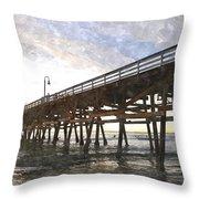 San Clemente Pier Sunset Throw Pillow