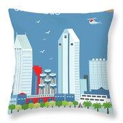 San Diego California Vertical Skyline Throw Pillow