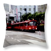 San Diego Red Trolley Throw Pillow
