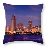 San Diego Skyline At Dusk Throw Pillow