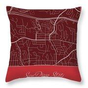 San Diego State Street Map - San Diego State University San Dieg Throw Pillow