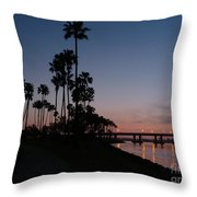 San Diego Sunset With Palm Trees Throw Pillow
