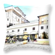 San Felice Circeo Bar And Fountain In The  Square Throw Pillow