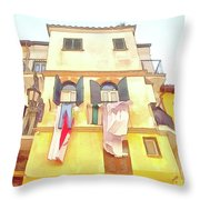 San Felice Circeo Building With The Put Clothes Throw Pillow