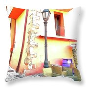 San Felice Circeo Chairs And Street Lamp Throw Pillow